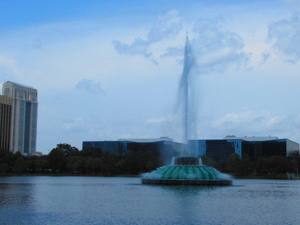 The Lake Eola fountain is a symbol of Orlando.