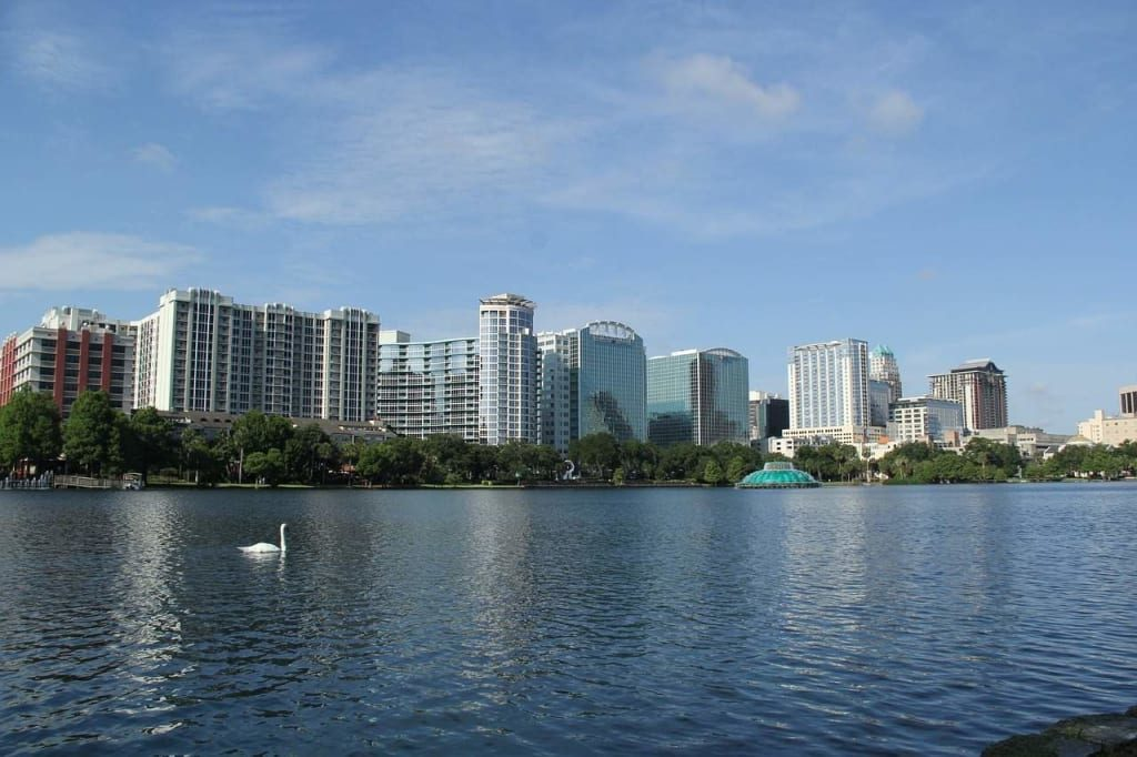 The centerpiece of downtown Orlando is the beautiful Lake Eola Park.