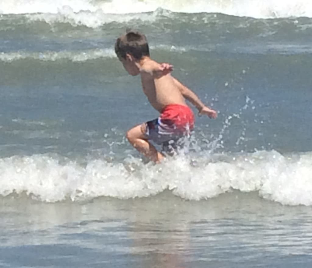 Splashing around in the waves is so much fun!
