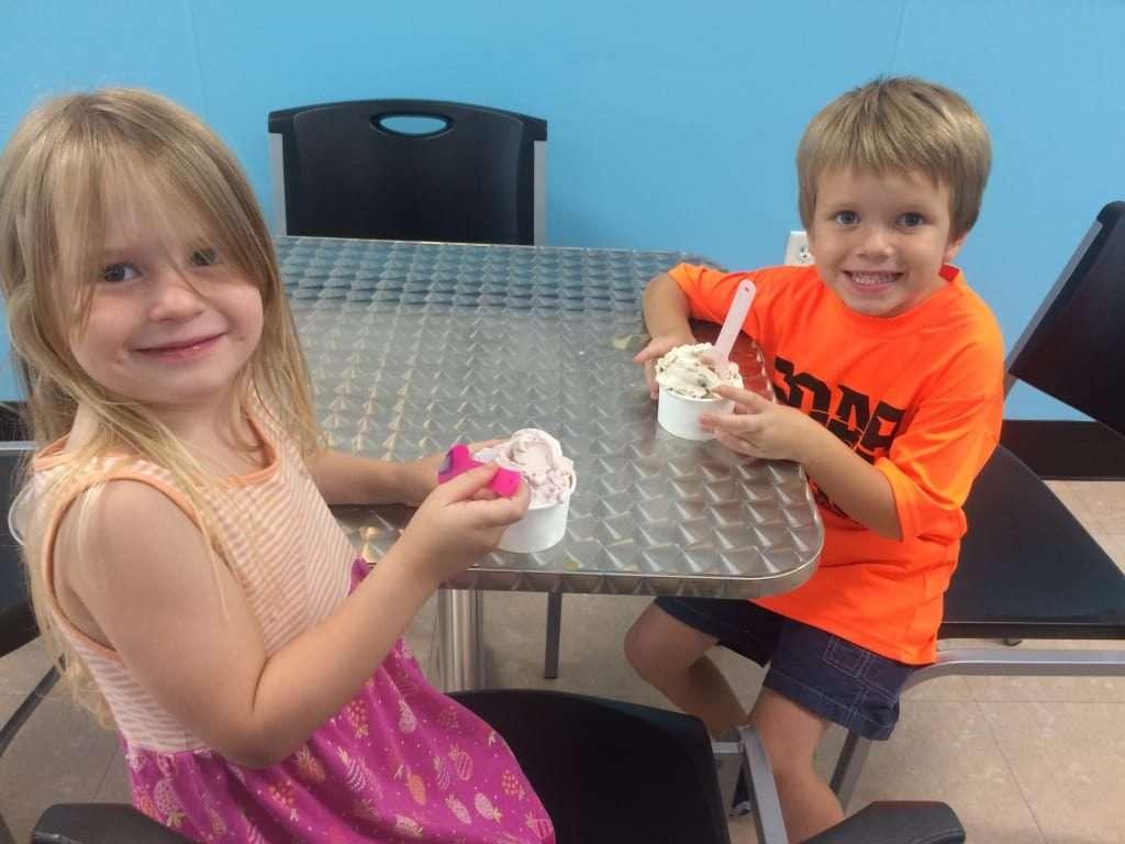 Kids enjoy science and ice cream at Frozen Nitrogen Ice Cream in Orlando, FL