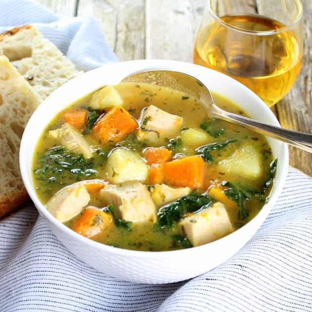 This amazing Kale, Butternut Squash and Turkey soup just screams fall and will warm you up in the most delicious way on a cool evening!