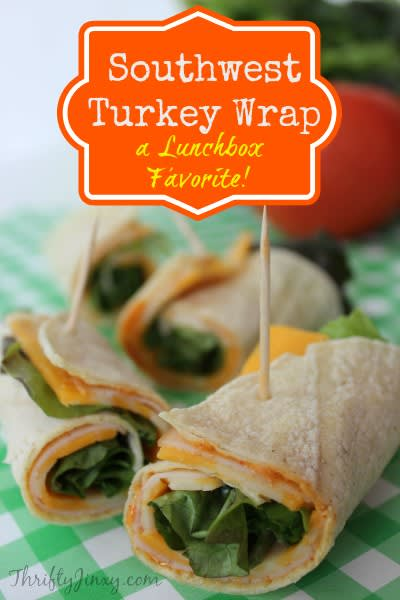 If you are looking for a little zing for your leftovers, checkout this delicious Southwest Turkey Wrap from ThriftyJinxy.com