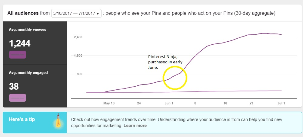 I started my blog in May of 2017 and purchased Pinterest Ninja in June. By the end of June, my Pinterest views were increasing steadily.