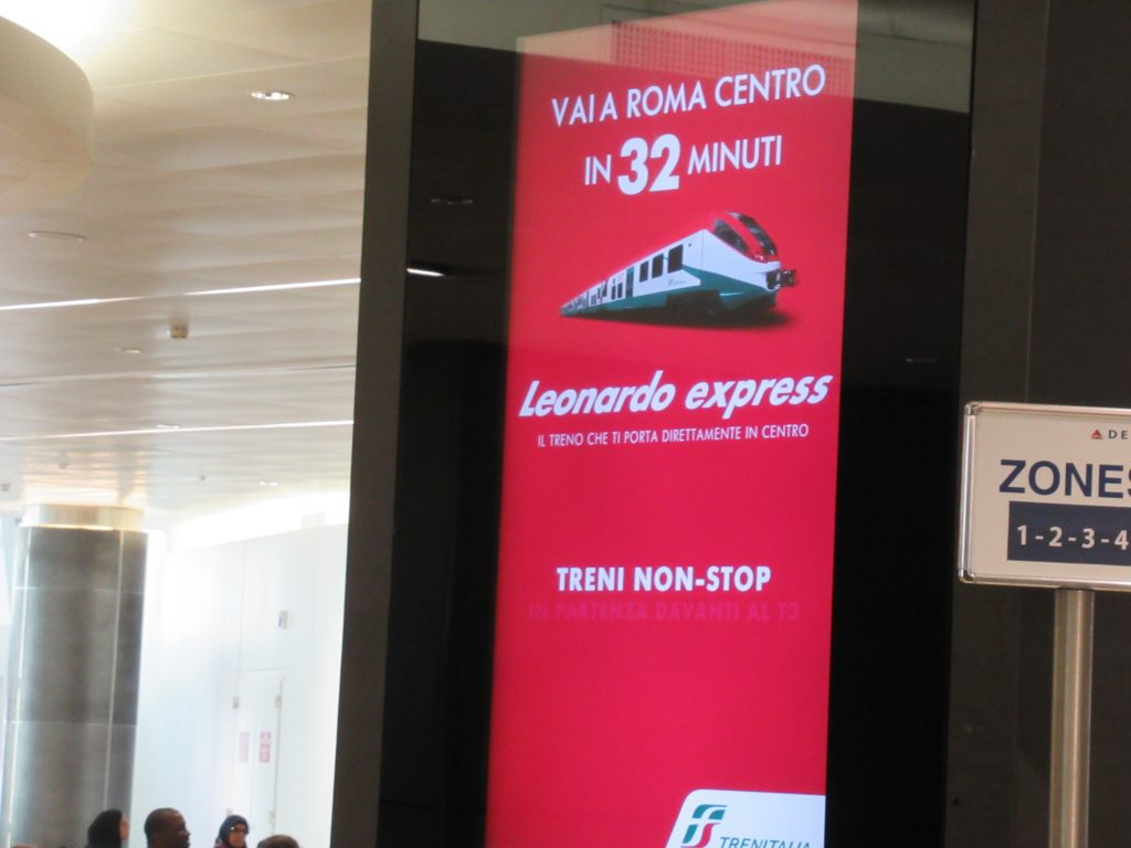 The Leonardo Express is the quickest way to get to Rome from Fiumicino airport.