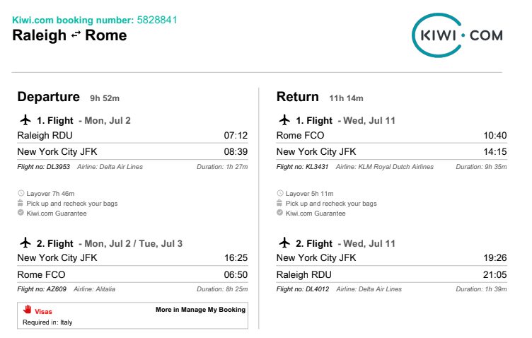 Kiwi.com is a flight search engine that helps travelers find routes and airfare that fit their budget. Check out this post for my honest review.