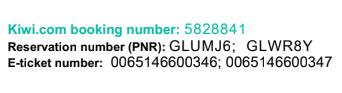 Kiwi.com reservation numbers