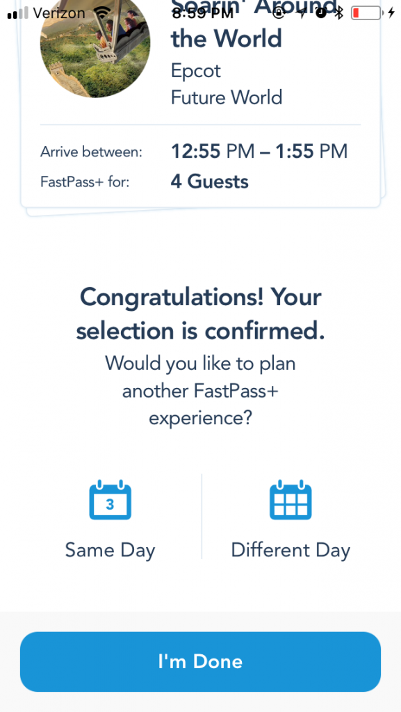 Confirm for Walt Disney World FastPass selection