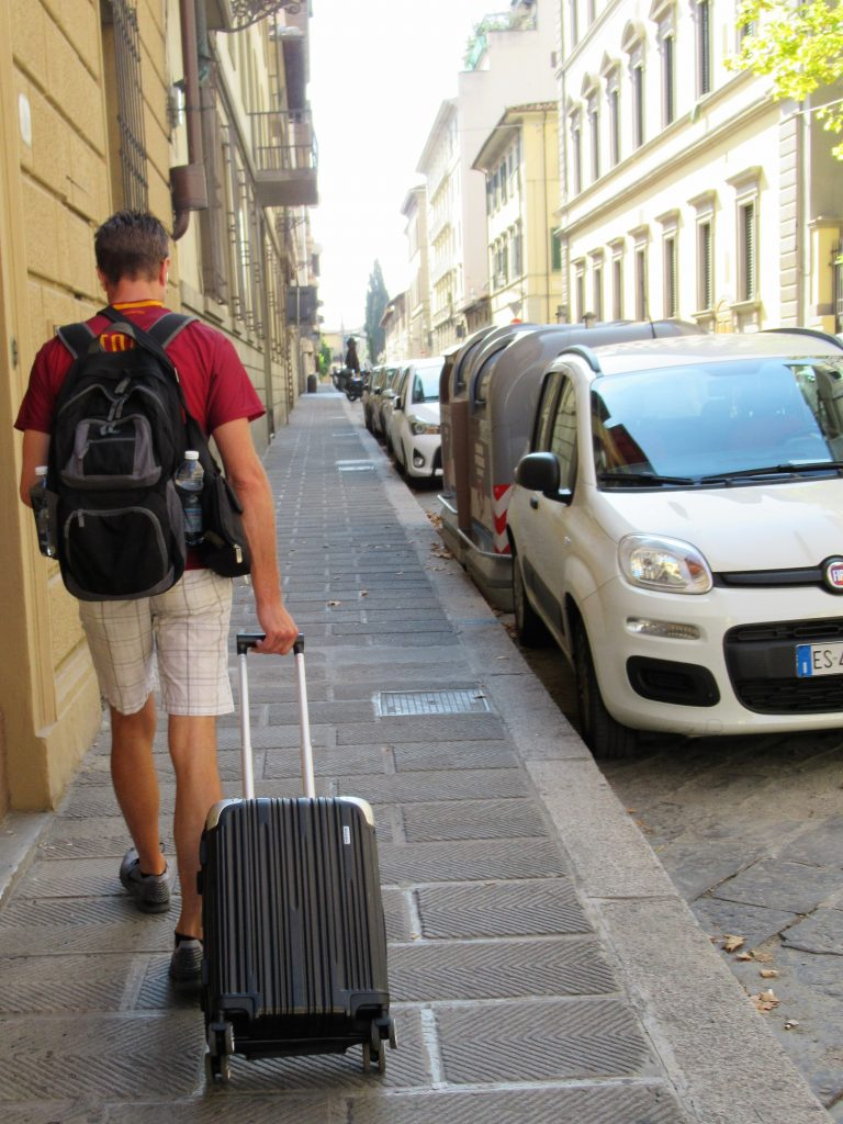 The quiet streets of Florence make the city very walkable, even with luggage.