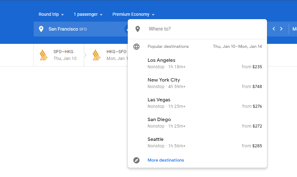If you don't exactly know where you want to go during a Google Flights search, you can leave the arrival box blank and see the list of suggested popular destinations.