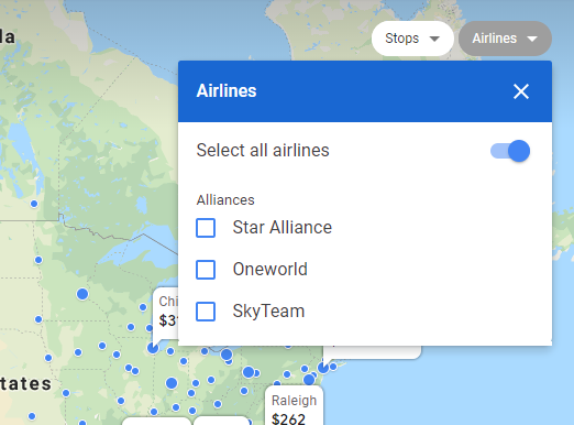 Filter out your Google Flights search based on airline alliance partners