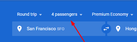 Select the number of passengers in your Google Flights Search