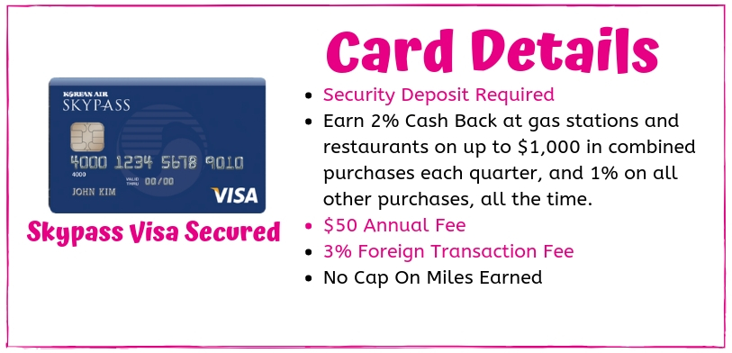 For those with a rough credit historyThe skypass Visa card has the benefits of being able to earn miles even with bad credit And World Wide acceptance due to it being a Visa card. however you do need to wait us against the annual fee and the foreign transaction fee